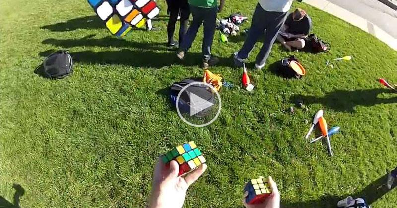 Guy Solves 3 Rubik's Cubes.. While JugglingThem