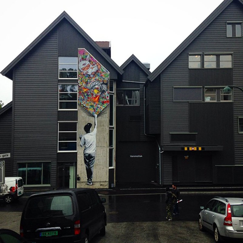 martin whatson street art 1 Artist Incorporates Grayscale Characters Into His Colorful Murals