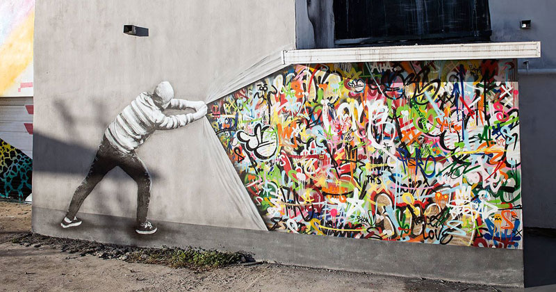 Artist Incorporates Grayscale Characters Into His Colorful Murals