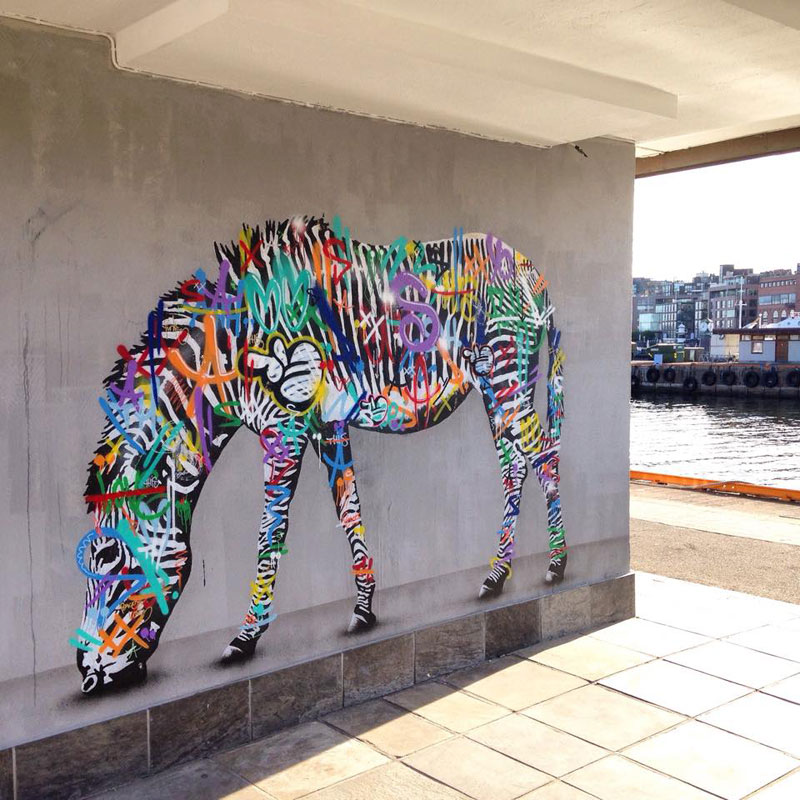 martin whatson street art 3 Artist Incorporates Grayscale Characters Into His Colorful Murals
