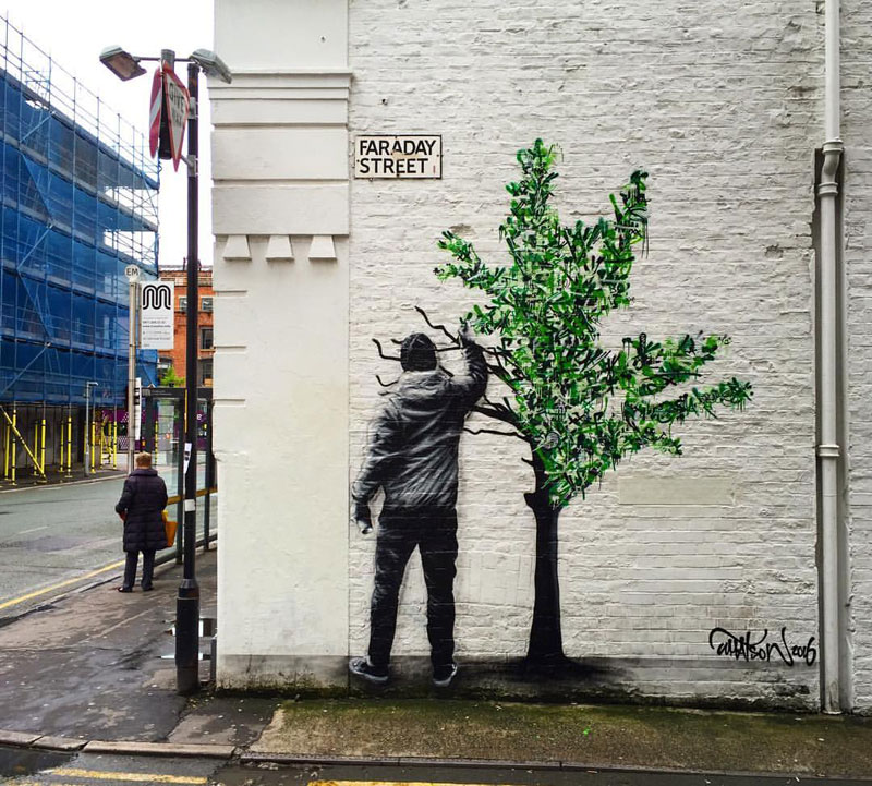 martin whatson street art 6 Artist Incorporates Grayscale Characters Into His Colorful Murals