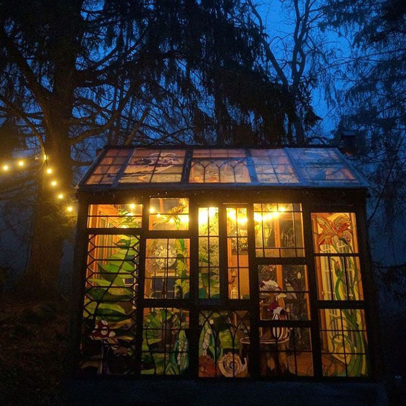 stained glass cabin by neile cooper 41 A Stained Glass Cabin in the Woods