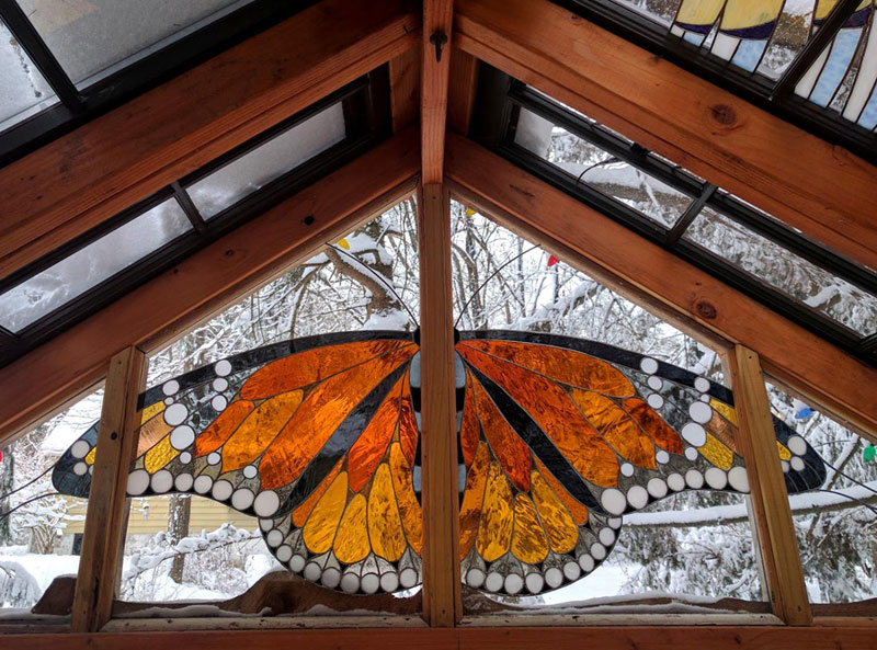 stained glass cabin by neile cooper 5 A Stained Glass Cabin in the Woods