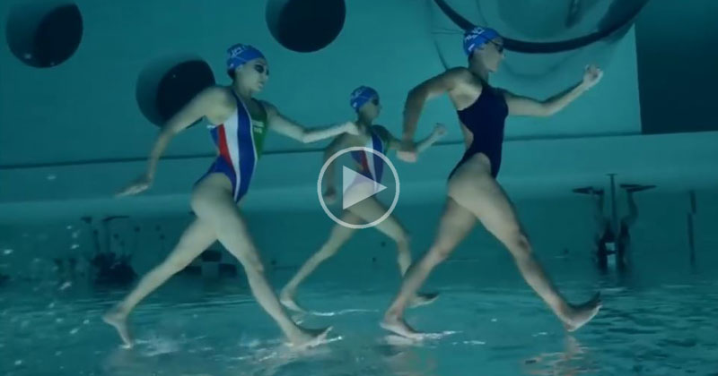 This Underwater, Upside Down View of Synchronized Swimmers is Awesome