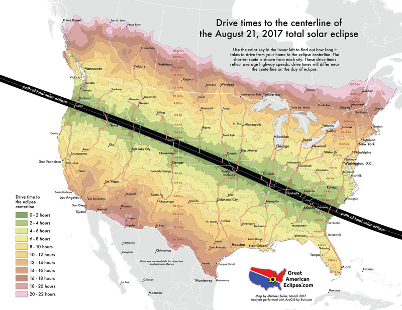 drive times to the centerline of the 2017 total solar eclipse 8 Random Maps That Make You Go Hmmm