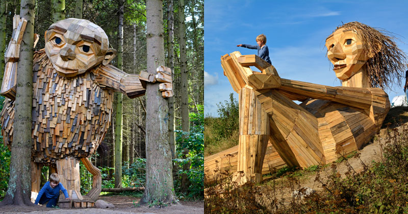 Artist Builds Forest Giants from Salvaged Materials and Hides Them in the Woods for People toFind