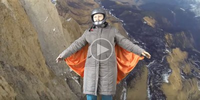 Awesome Grandma Pretends to Wingsuit Fly Using Green Screen, Paper Clips and BedSheet