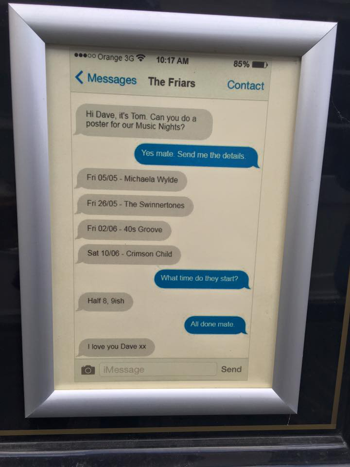 graphic designer makes music poster for client using screenshot of their chat Designer Makes Music Poster with Simple Chat Screenshot and Its Kind of Brilliant