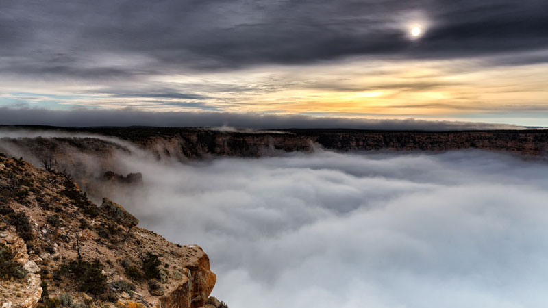 kaibab elegy skyglowproject harun mehmedinovic 2 There was a Full Cloud Inversion at the Grand Canyon and this Guy Got an Unreal Timelapse of It