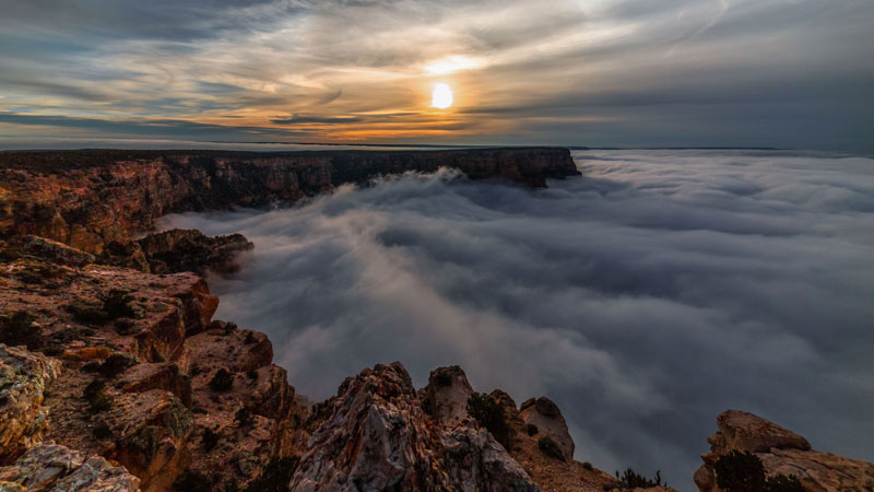 kaibab elegy skyglowproject harun mehmedinovic 4 There was a Full Cloud Inversion at the Grand Canyon and this Guy Got an Unreal Timelapse of It