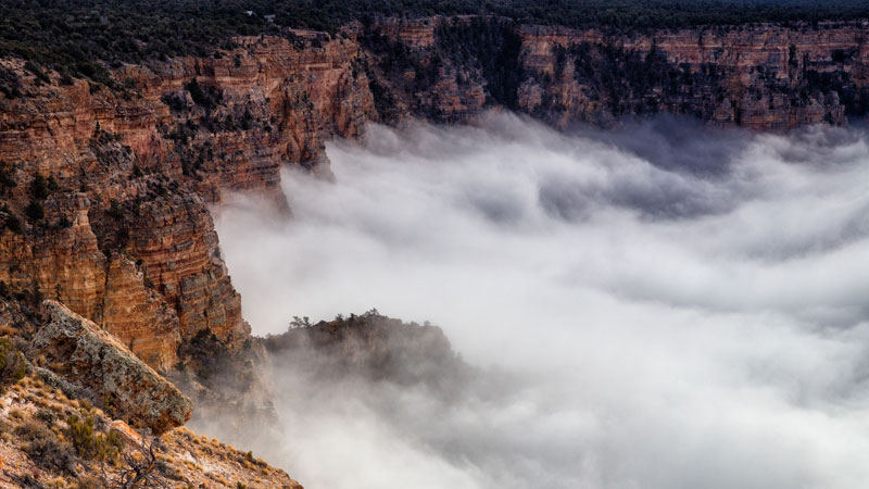 kaibab elegy skyglowproject harun mehmedinovic 5 There was a Full Cloud Inversion at the Grand Canyon and this Guy Got an Unreal Timelapse of It