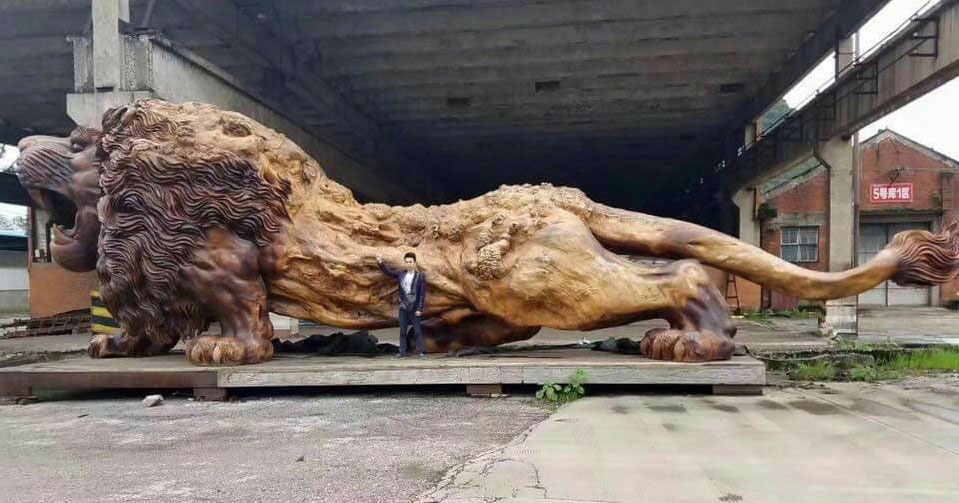 lion carved from single tree trunk by dengding rui yao 12 Incredible Wooden Lion Carved from a Single Tree (11 photos)
