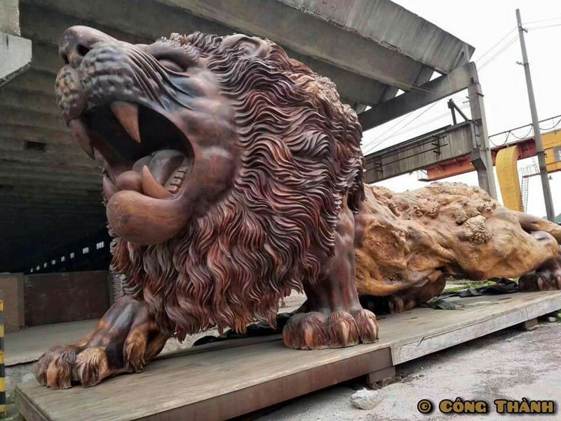 lion carved from single tree trunk by dengding rui yao 7 Incredible Wooden Lion Carved from a Single Tree (11 photos)
