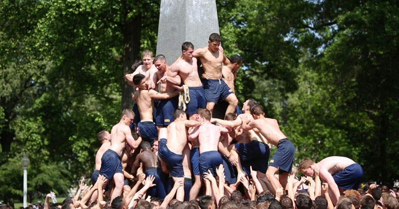 For Naval Academy Freshmen, Summer Can't Begin Until They've Climbed This Obelisk