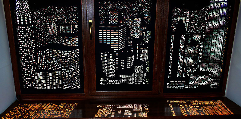 intricately cut blinds show iconic cityscapes at night by holeroll 2 These Intricately Cut Blinds Show Iconic Cityscapes at Night
