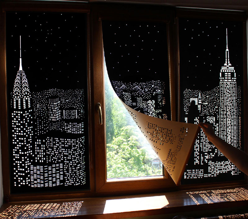 These Intricately Cut Blinds Show Iconic Cityscapes at Night