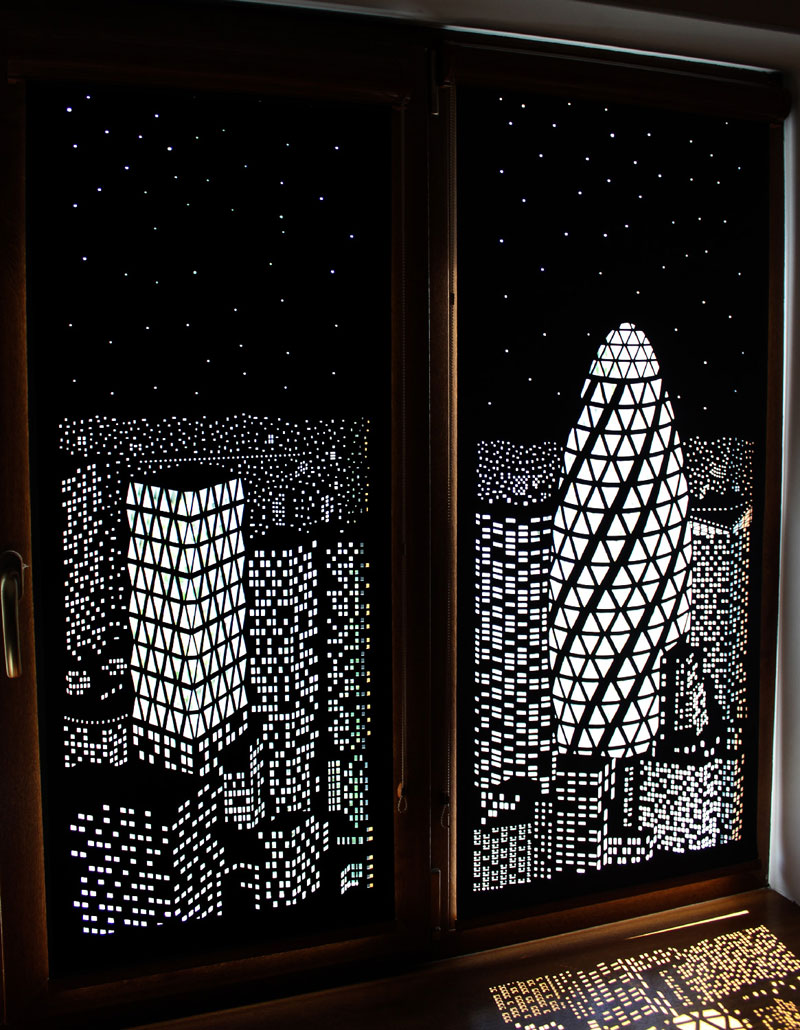 intricately cut blinds show iconic cityscapes at night by holeroll 6 These Intricately Cut Blinds Show Iconic Cityscapes at Night
