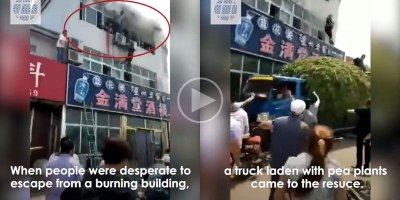 Quick Thinking Truck Driver Rescues People from Burning Building