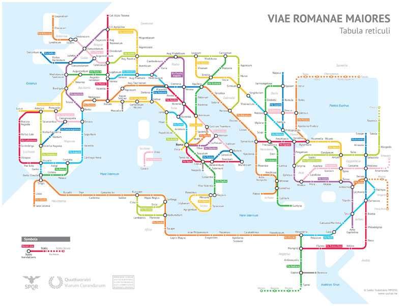 roman empire subway map by sasha trubetskoy 2 A Roman Empire Subway Map of their 250,000 Mile Road Network