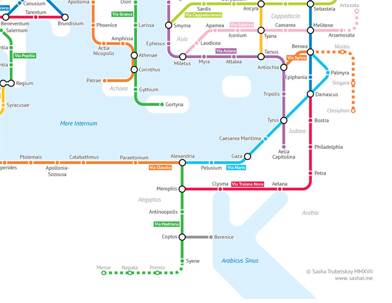 roman empire subway map by sasha trubetskoy 6 A Roman Empire Subway Map of their 250,000 Mile Road Network