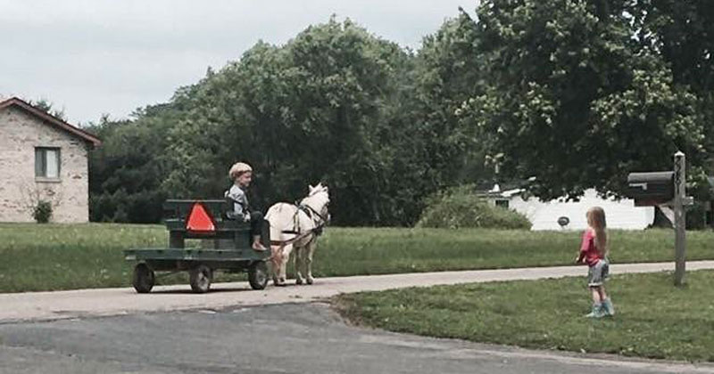 This Guy's Cousin Made Friends With a Little Amish Boy. This is Him Stopping By to Say Hi