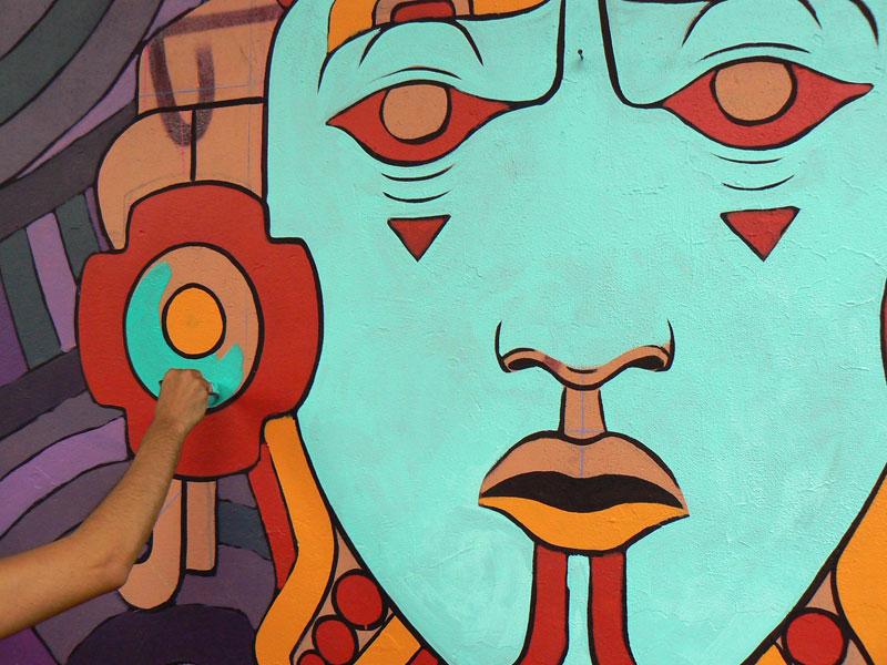 aztec inspired street art mural by rilke guillen 4 Amazing Aztec Inspired Street Art Mural by Rilke Guillen