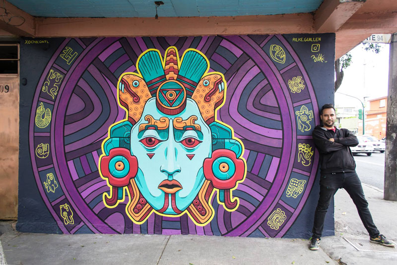 aztec inspired street art mural by rilke guillen 5 Amazing Aztec Inspired Street Art Mural by Rilke Guillen
