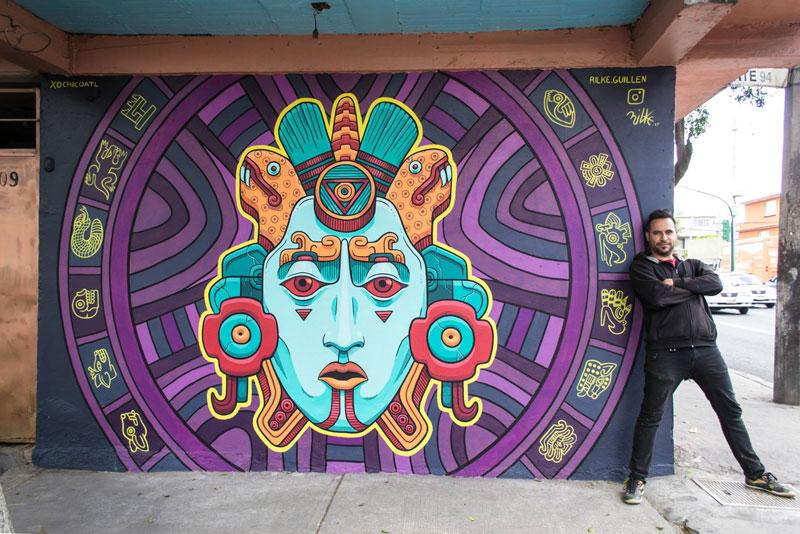 aztec inspired street art mural by rilke guillen 5 Amazing Aztec Inspired Street Art Mural by Rilke Guillen