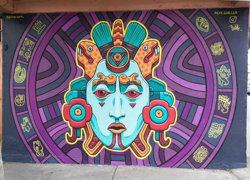 aztec inspired street art mural by rilke guillen 6 Amazing Aztec Inspired Street Art Mural by Rilke Guillen