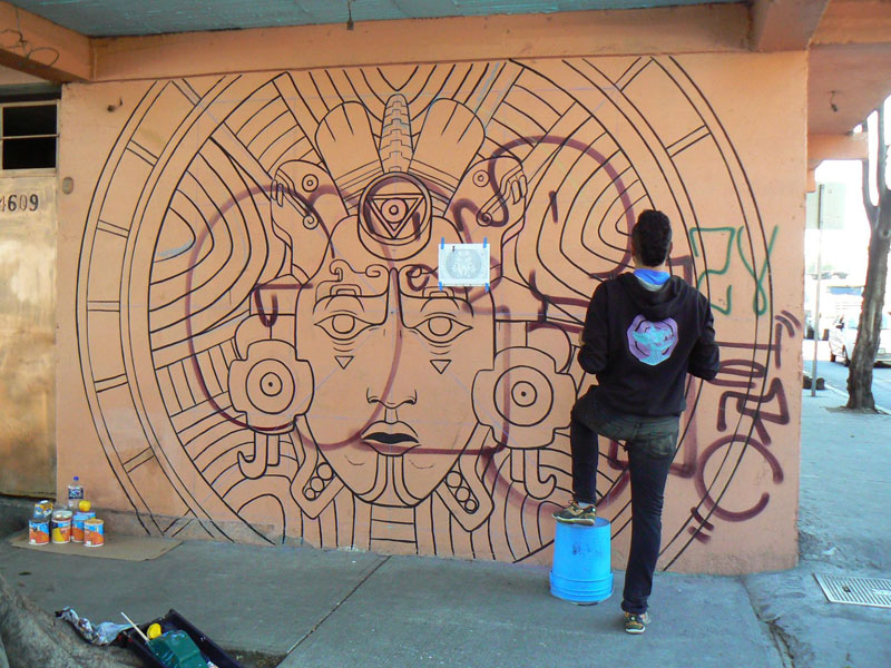 aztec inspired street art mural by rilke guillen 7 Amazing Aztec Inspired Street Art Mural by Rilke Guillen