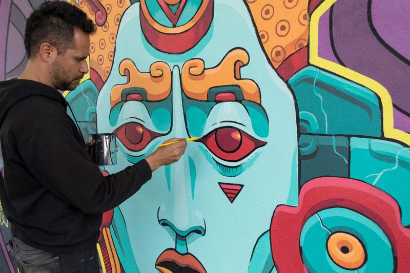 aztec inspired street art mural by rilke guillen 9 Amazing Aztec Inspired Street Art Mural by Rilke Guillen