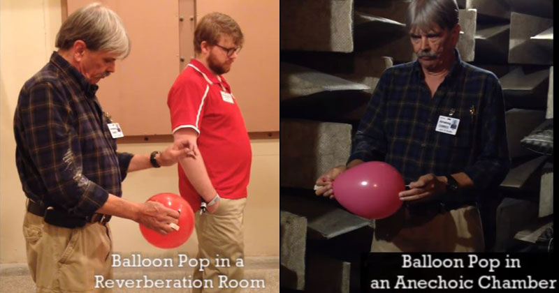 Popping a Balloon in a Reverberation Room vs an AnechoicChamber