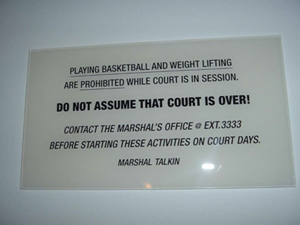 supreme court basketball court warning sign Theres a Basketball Net Atop the Supreme Court Dubbed the Highest Court in the Land
