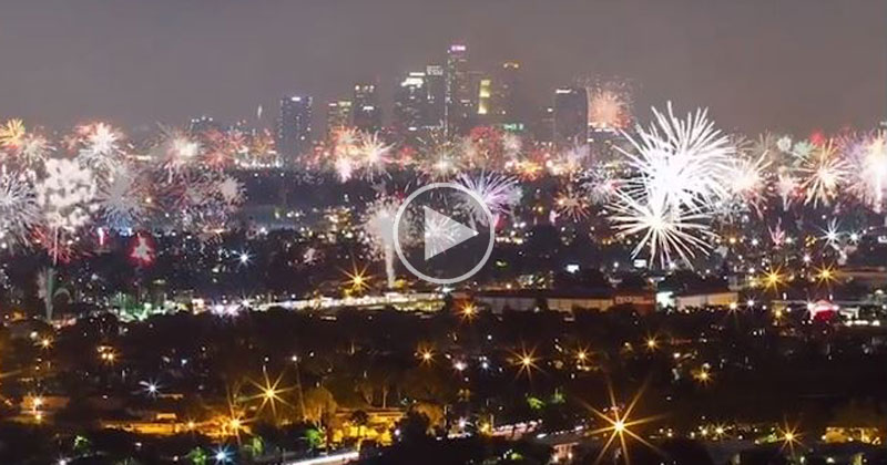 Timelapse of 4th of July Fireworks Over LosAngeles