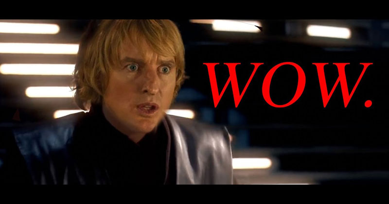 Star Wars, but All of the Lightsaber Sounds are Owen Wilson Saying Wow