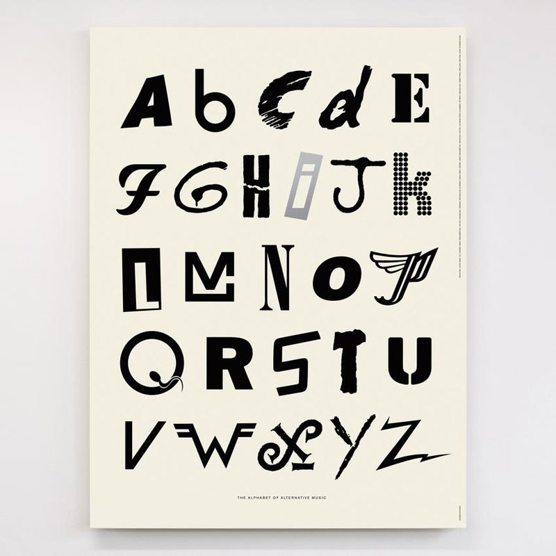 alphabet of alternative music art print dorothy hero 850x Awesome Alphabet Posters Made from Classic and Alternative Rock Band Logos