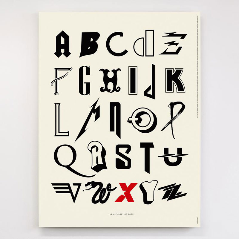 alphabet of rock music art print dorothy hero 850x Awesome Alphabet Posters Made from Classic and Alternative Rock Band Logos