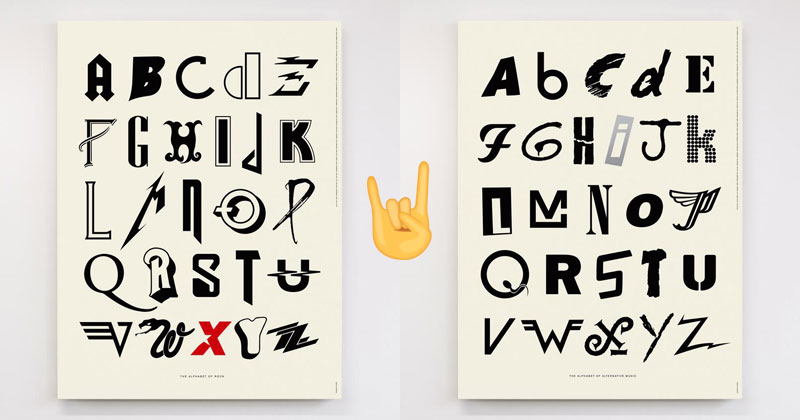 Awesome Alphabet Posters Made from Classic and Alternative Rock Band Logos