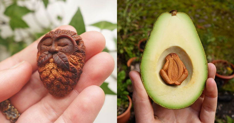 Waste Not, Want Not: Artist Carves Avocado Pits Into Tiny ForestSpirits
