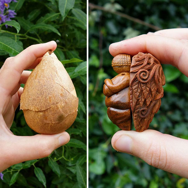 avocado stone faces carved by jan campbell 7 Waste Not, Want Not: Artist Carves Avocado Pits Into Tiny Forest Spirits
