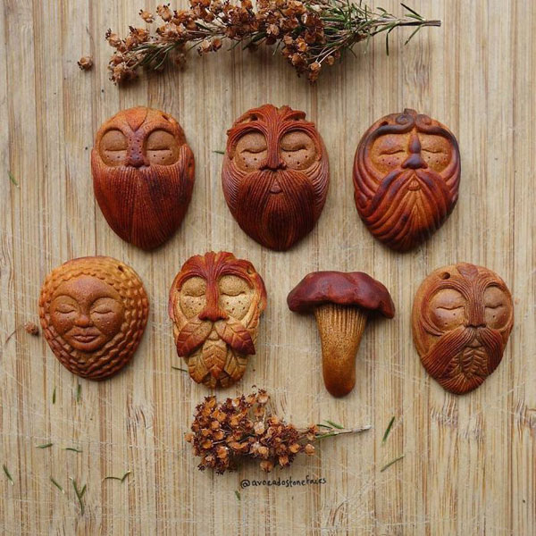 avocado stone faces carved by jan campbell 8 Waste Not, Want Not: Artist Carves Avocado Pits Into Tiny Forest Spirits