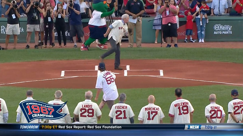 first pitch hits balls boston red sox 1 Ceremonial First Pitch Goes Horribly Wrong