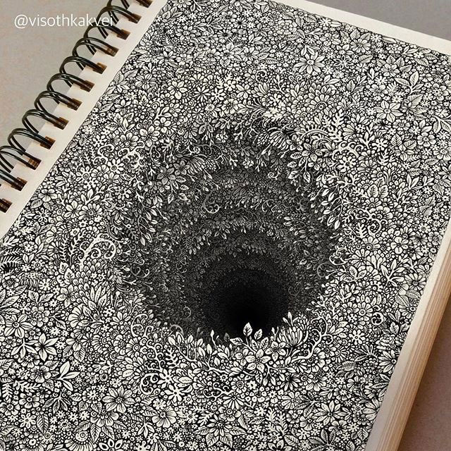 floral hole drawings by visoth kakvei 1 Visoth Kakveis Mind Boggling Floral Holes Look Impossible to Draw
