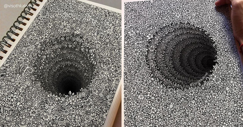 Visoth Kakvei's Mind Boggling 'Floral Holes' Look Impossible to Draw