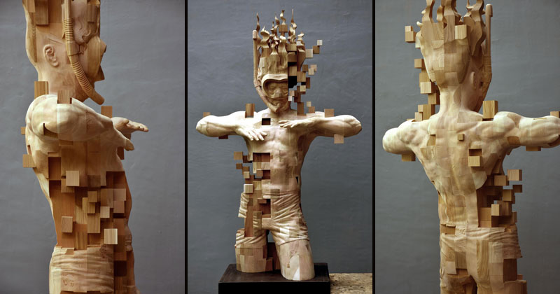 Glitch Wood Carving: Pixelated Snorkeler by Hsu TungHan