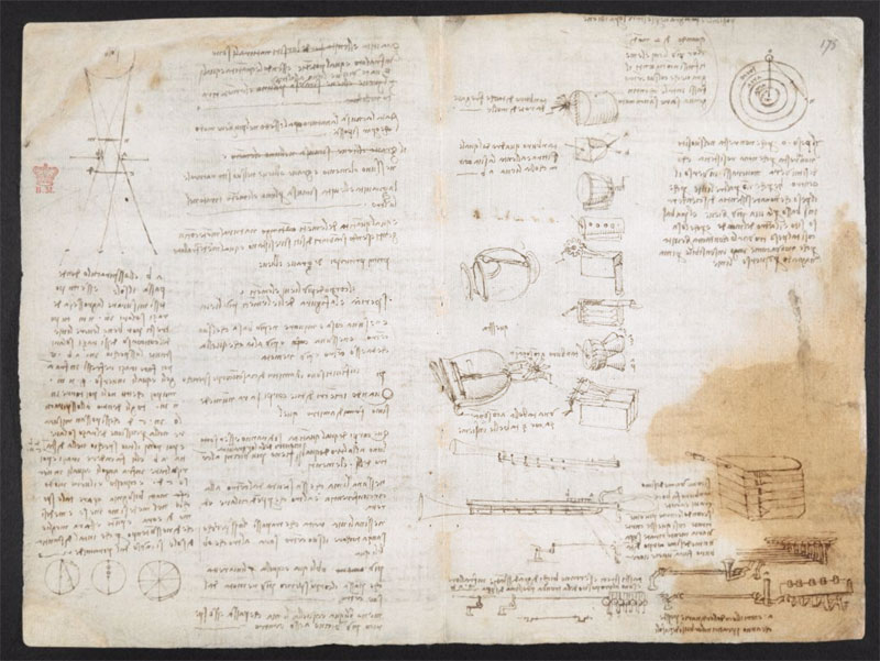 leonardo da vinci notebook 16 The British Library Has Fully Digitized 570 Pages of Leonardo da Vincis Visionary Notebooks