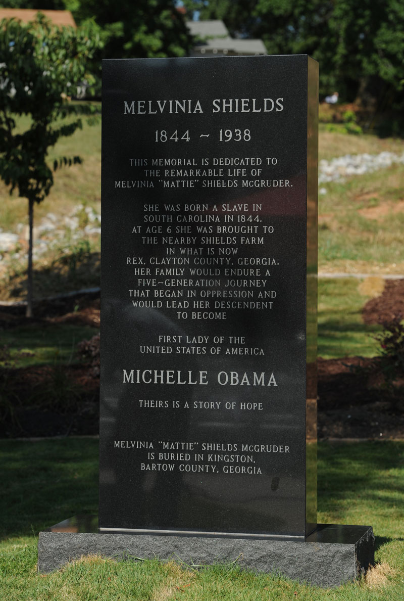 michelle obama great grandmother tombstone epitaph Memorial for Melvinia Shields (1844 1938) Shows How Far the United States Has Come