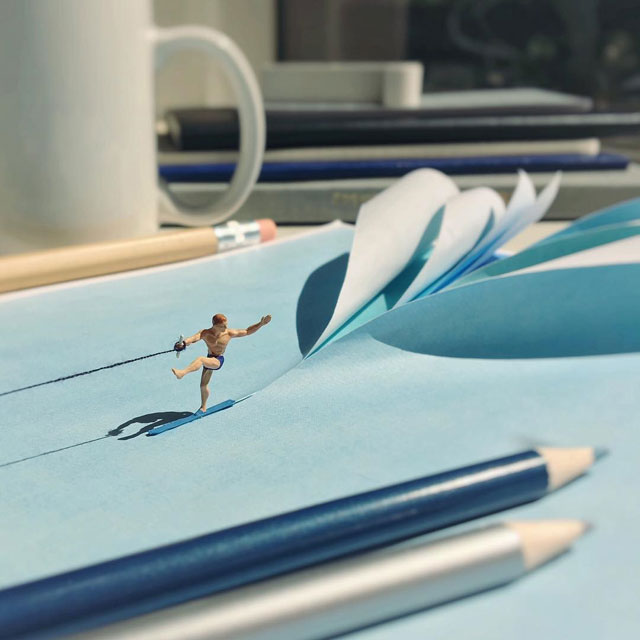 miniature scenes by derrick lin mardser on instagram 12 Guy Creates Tiny Moments on His Desk Using Office Supplies and Huge Collection of Miniatures