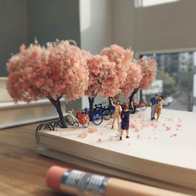 miniature scenes by derrick lin mardser on instagram 13 Guy Creates Tiny Moments on His Desk Using Office Supplies and Huge Collection of Miniatures