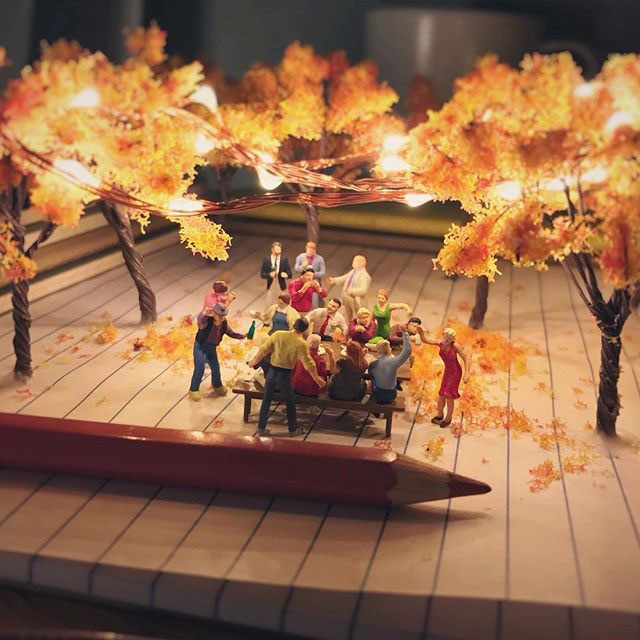 miniature scenes by derrick lin mardser on instagram 3 Guy Creates Tiny Moments on His Desk Using Office Supplies and Huge Collection of Miniatures